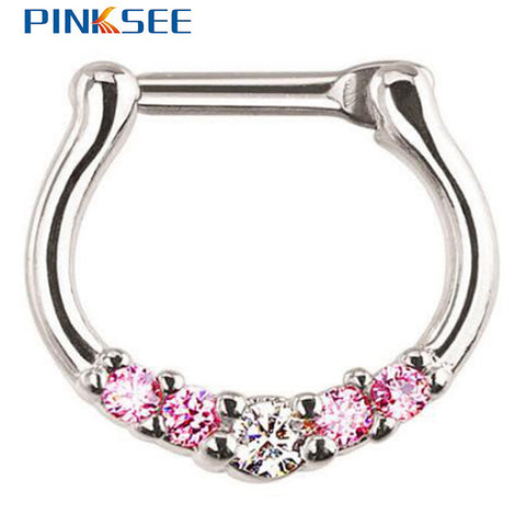 Five-Gem Septum Clicker Alloy Copper Nose Ring