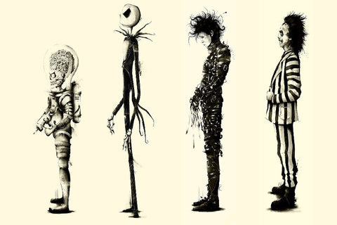 Tim Burton's famous Movie Characters Silk Poster