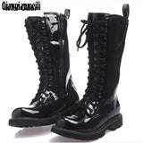 Knee High Boots Mens Military Boots Natural Cow light Leather