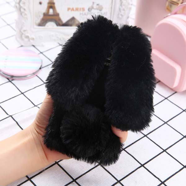 online retailer 1f3f2 54b3f Fashion Soft Fluffy Wool Hair Fur Long Ear Rabbit Phone Cases for iphone 7  6 6s Plus Cover Bling Diamond Bow elegant Fitted Case