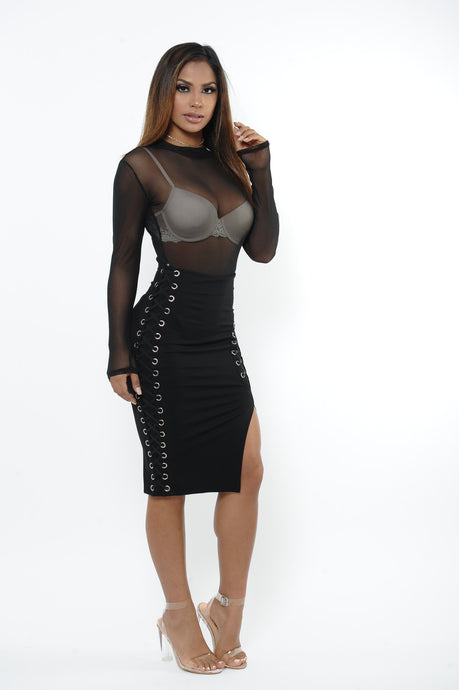 Bad Gal Lace Up Pencil Skirt