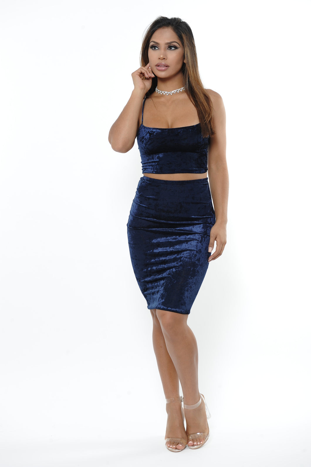Royal Plush Velvet Skirt Set