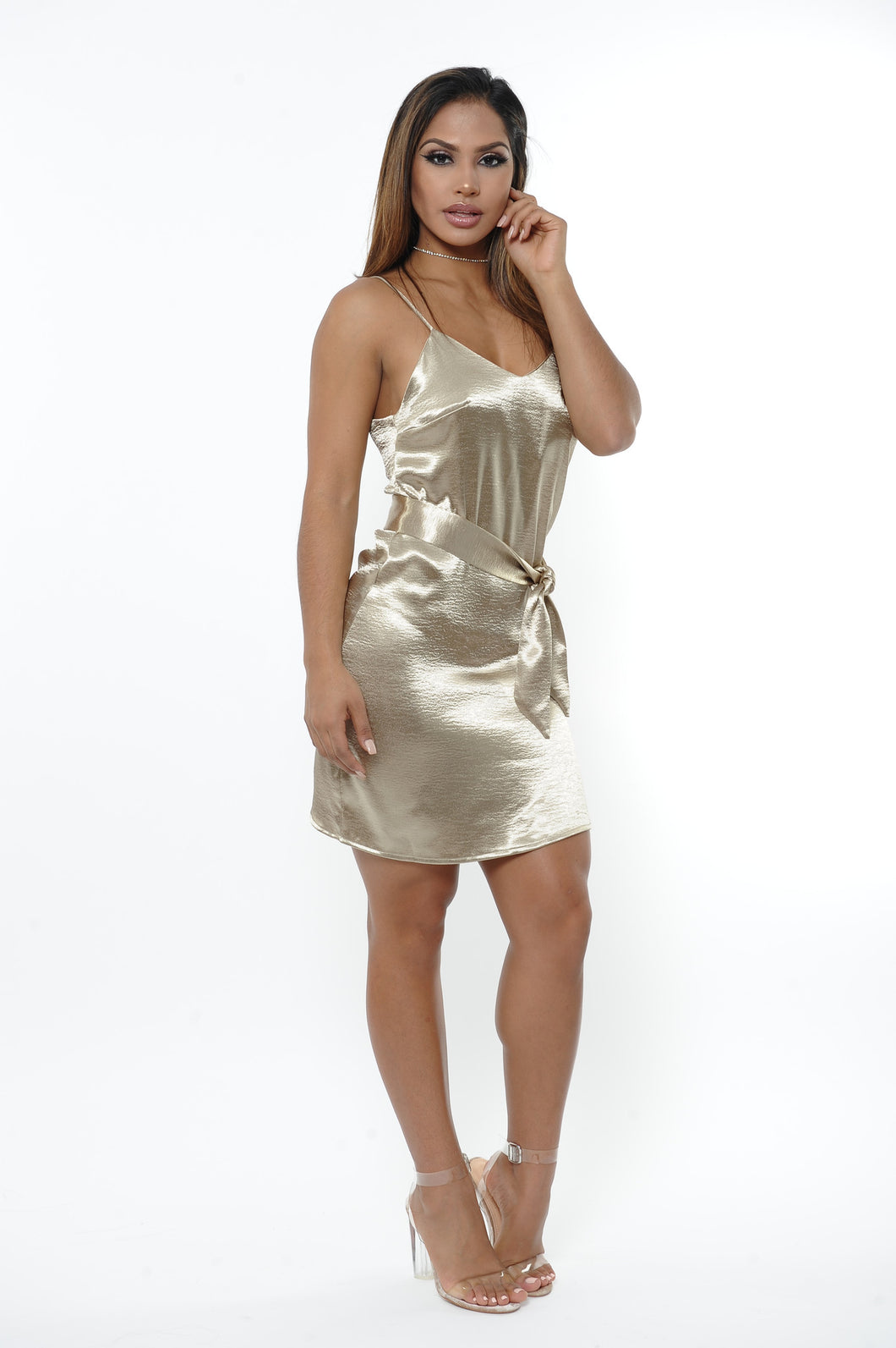 Aztec Gold Satin Mini Dress
