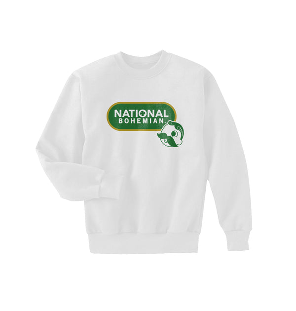 GREEN LOGO CREWNECK - WHITE