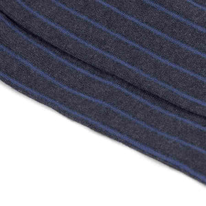Grey Pinstripe Blue Ribbed Cotton Socks - kloters
