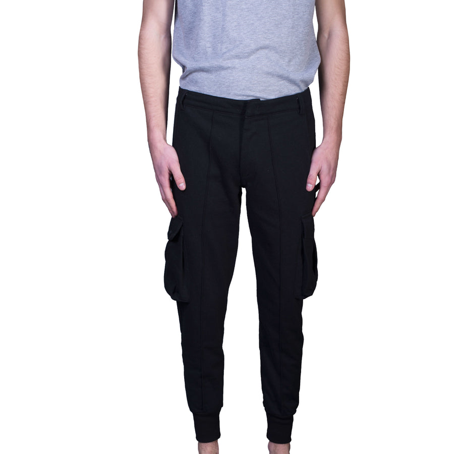 Black Cargo Cotton Trousers