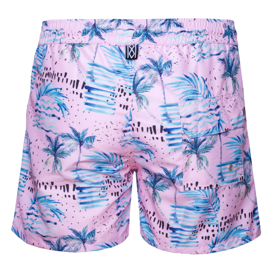 Palms and Waves Pink Swim Shorts Super-dry - kloters