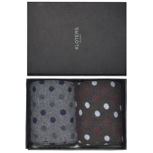 Bordeaux and Grey Polka Dots Socks Pack - kloters