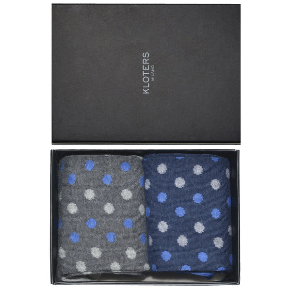 Grey and Blue Polka Dots Socks Pack - kloters