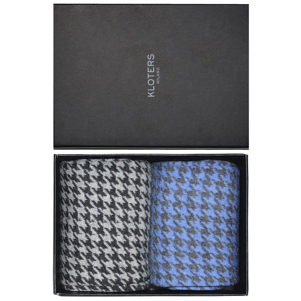 Light blue and Grey Houndstooth Socks Pack - kloters