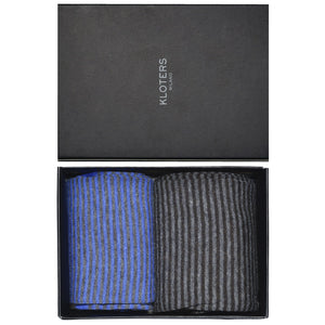 Light Blue and Grey Striped Socks Pack - kloters