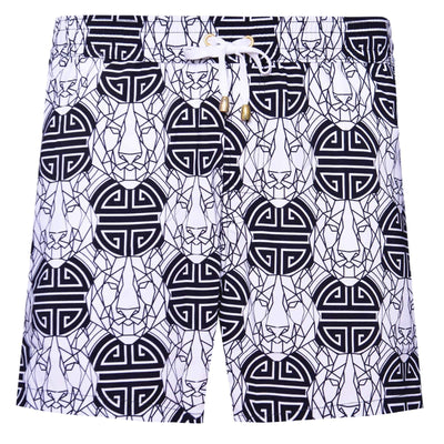 Black and White Tiger Swim Shorts - kloters