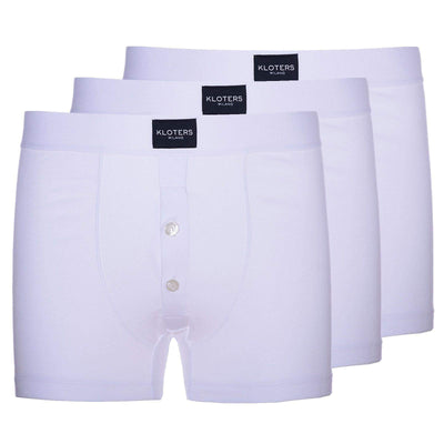 Boxer Briefs - 3 White Boxer Briefs With Buttons Pack