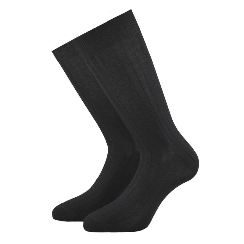 Dark Grey Ribbed Cotton Socks - kloters