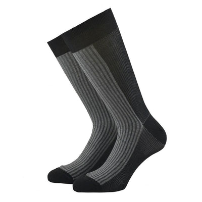 Grey and Black Ribbed Cotton Socks - kloters