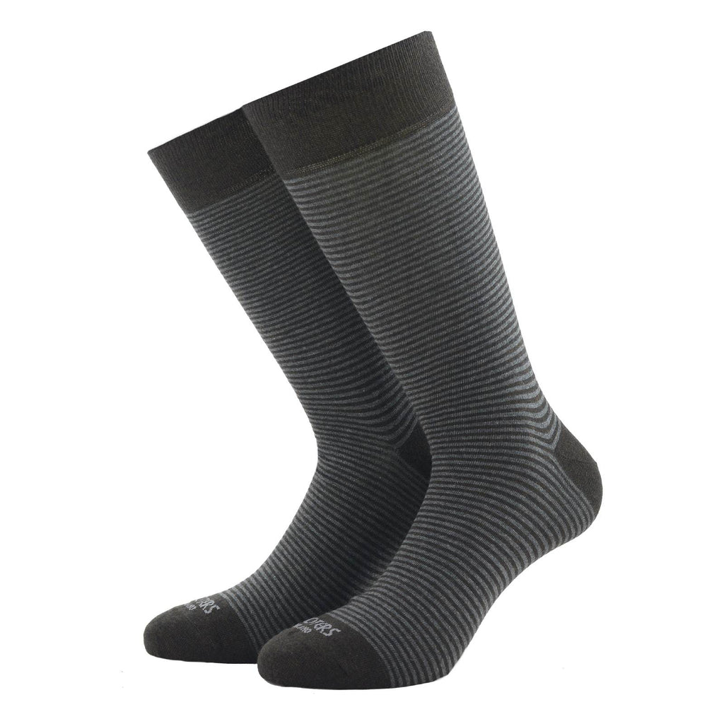 Dark Grey and Brown Striped Socks - kloters