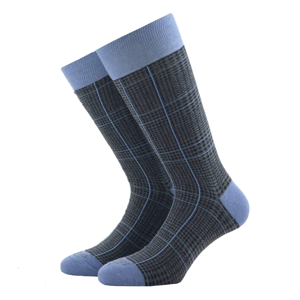 Light Blue Glencheck Socks - kloters