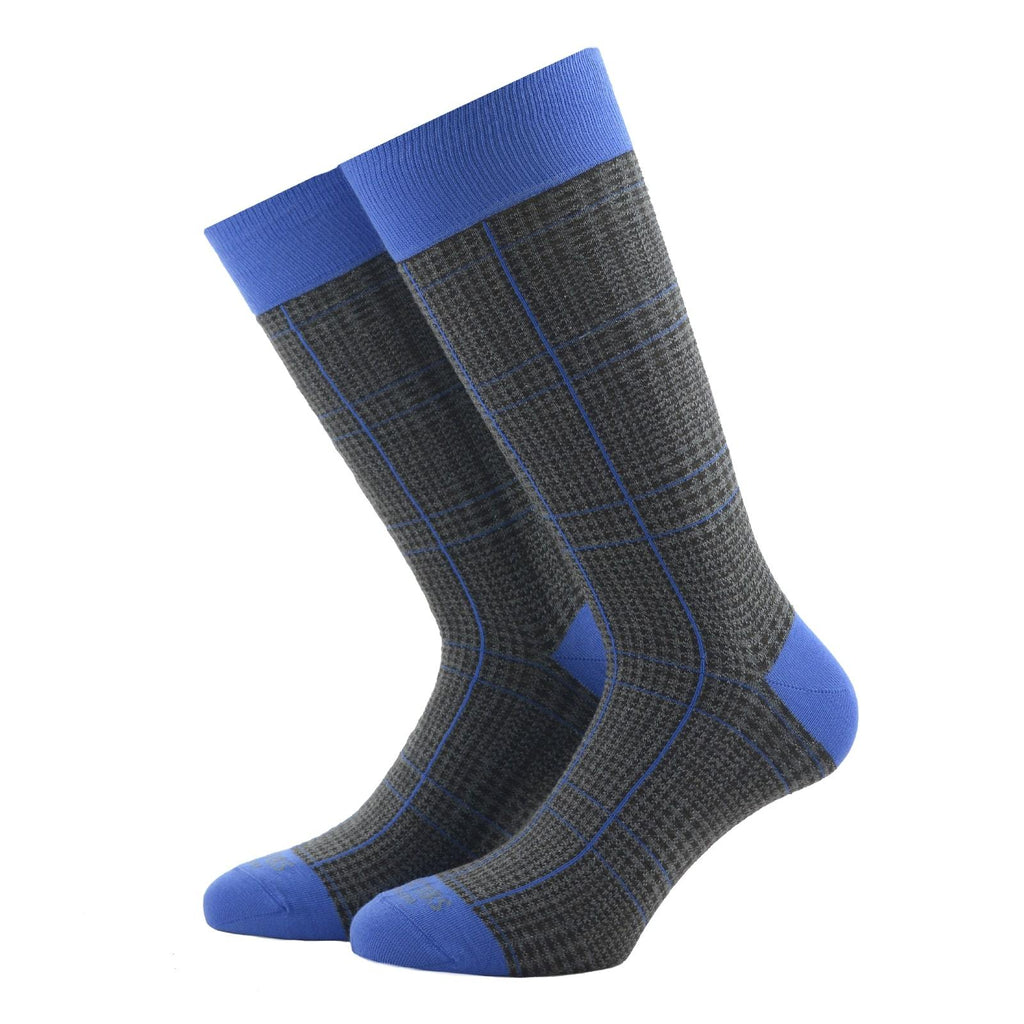 Grey and Blue Glencheck Socks - kloters
