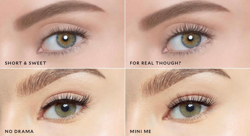 4 different effortless faux lashes on the eyes