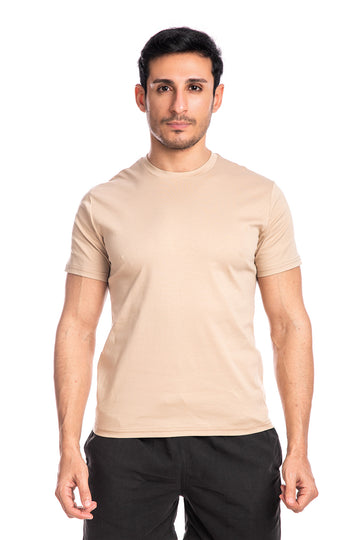 Sand Mercerised Cotton T-shirt