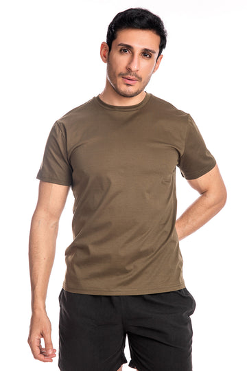 Olive Mercerised Cotton T-shirt