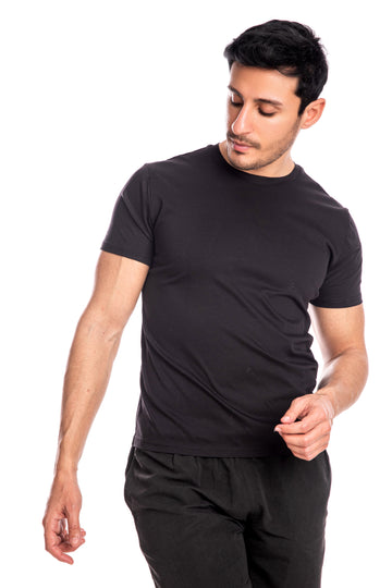 Black Mercerised Cotton T-shirt