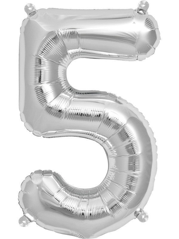 "16"" Silver Number 5 Balloon"