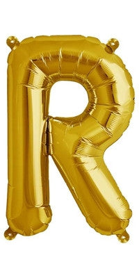 "16"" Gold Letter R Balloon"