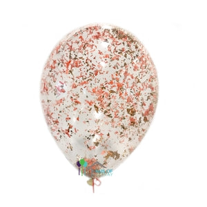 Metallic Rose Gold Coral Confetti Balloons
