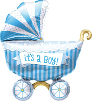 "14"" Baby Boy Buggy Packaged Foil Balloon"