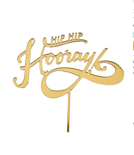 Hip Hip Hooray Gold Cake Topper