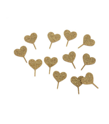 Heart Treat Toppers - Gold Glitter