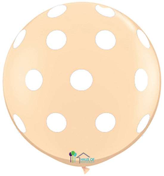 "36"" Blush White Polka Round"