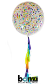 "36"" Neon Confetti Balloon and Tassel"
