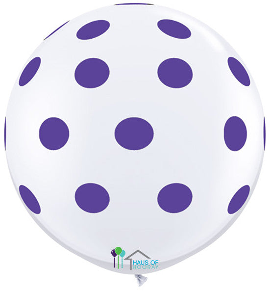 "36"" White Purple Polka Round"
