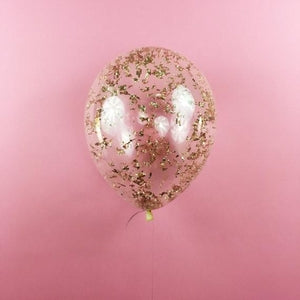Metallic Rose Gold Confetti Balloons
