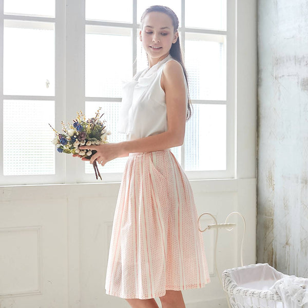 (Woman) 100% cotton-Pink Striped Printed Skirt - Bunny n Bloom Mommy & Me Dress