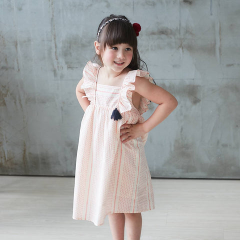 (Girl) 100% cotton-Pink Striped Printed Dress - Bunny n Bloom Mommy & Me Dress