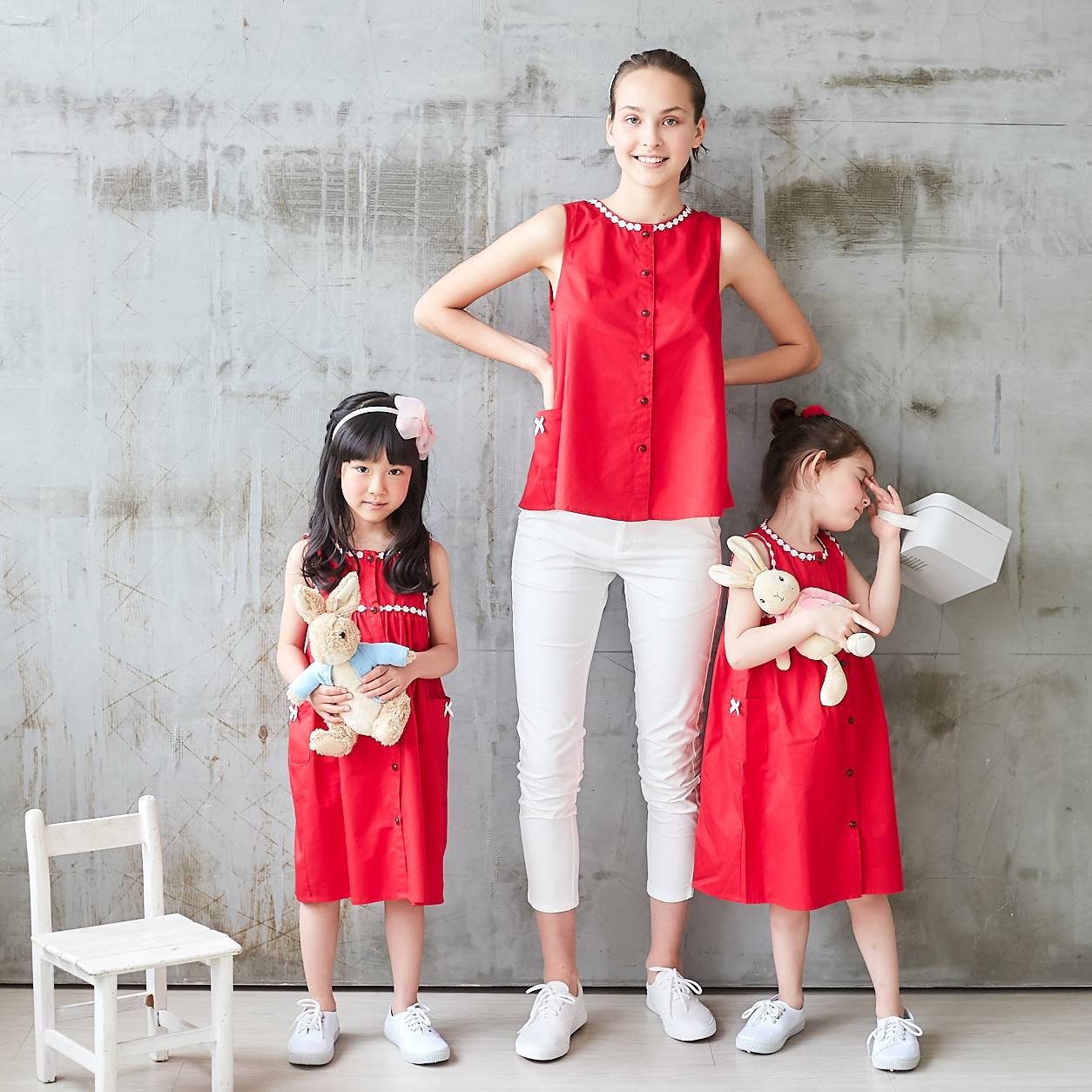 (Mommy & Me) Red Lace-Trim Button-Front Sleeveless Dress & Top (Set of 2) - Bunny n Bloom Mommy & Me Dress