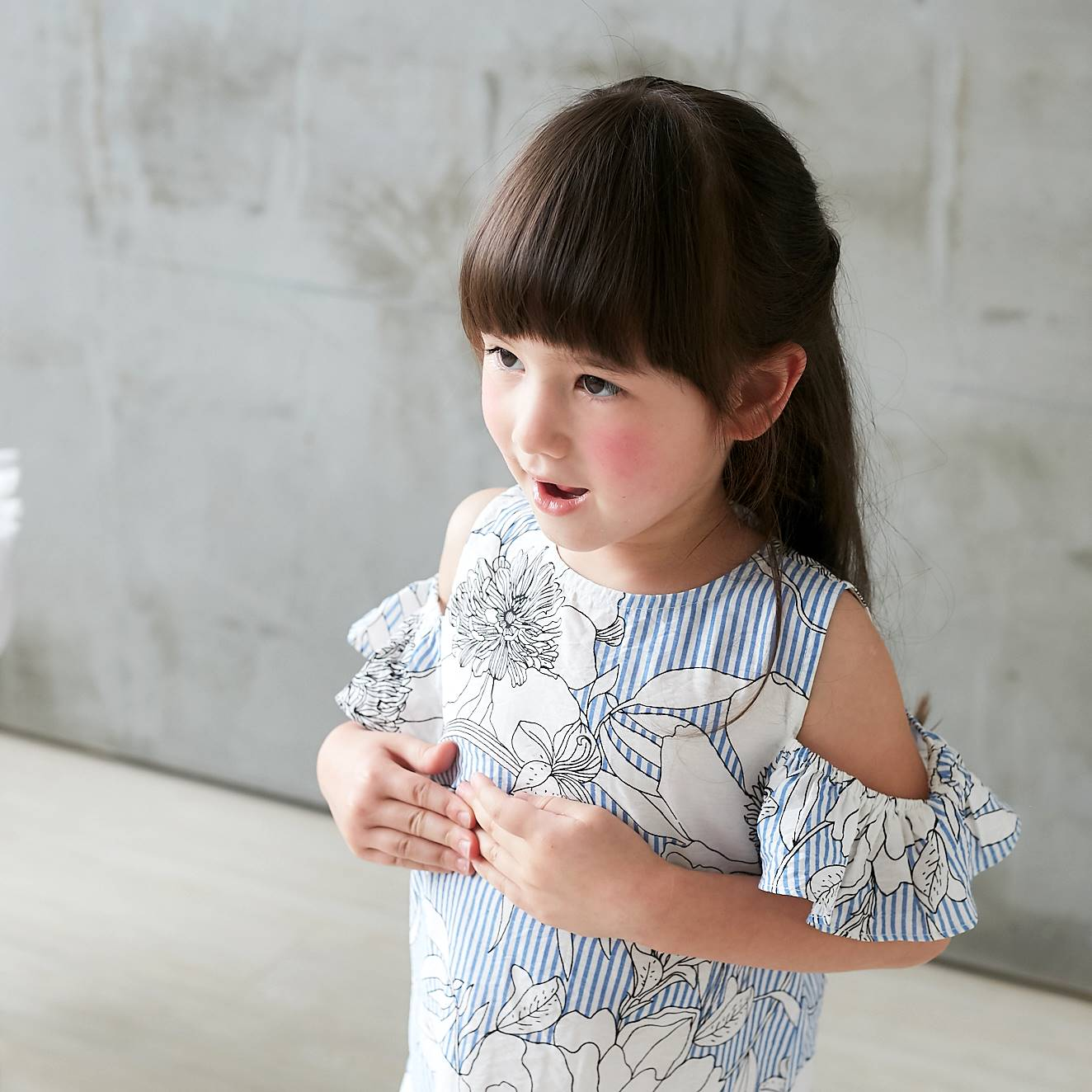 (Girl) 100% cotton-Cold-Shoulder Blue Floral Spring Dress - Bunny n Bloom Mommy & Me Dress
