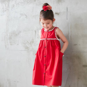 Red Lace-Trim Button-Front Sleeveless Dress