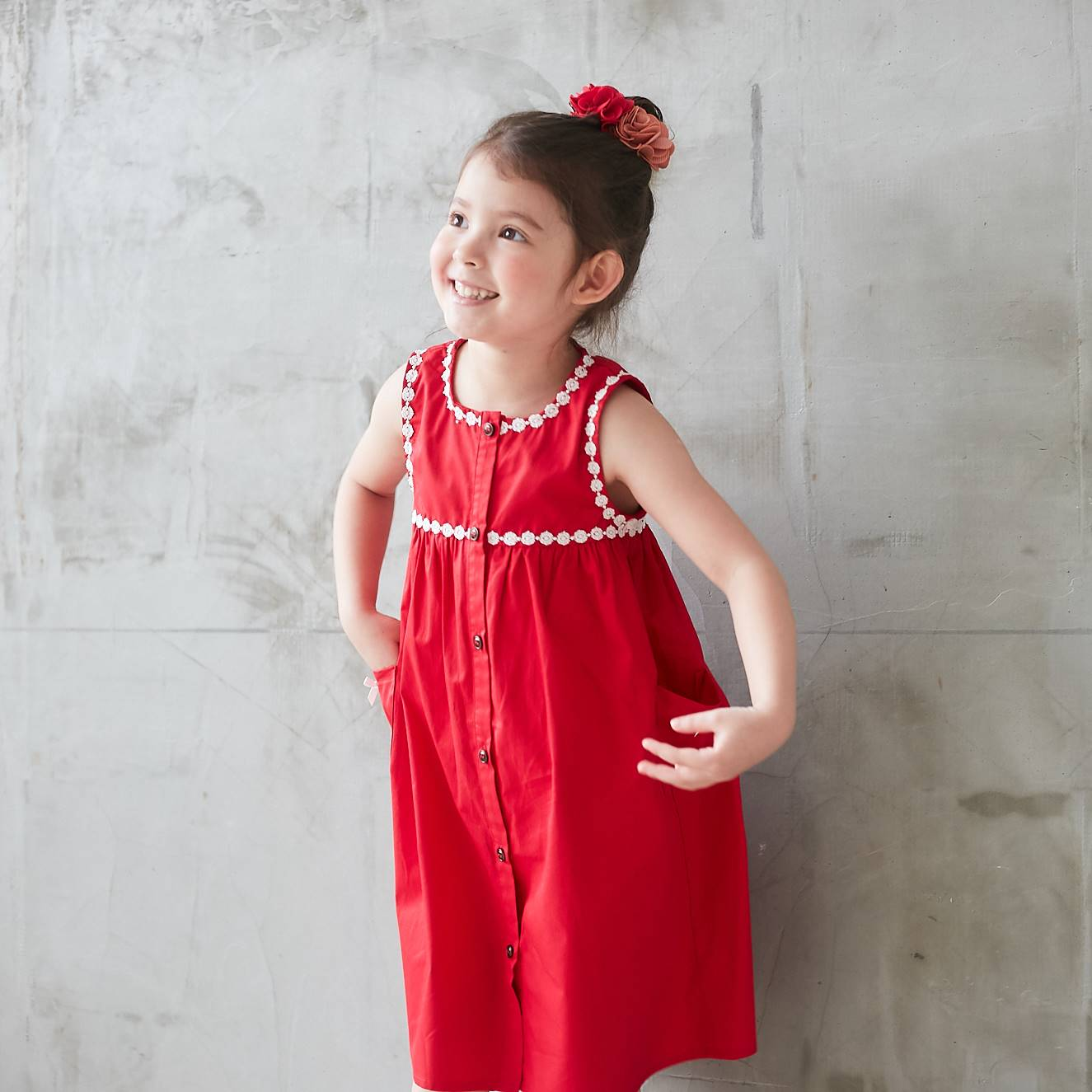 Red Lace-Trim Button-Front Sleeveless Dress - Bunny n Bloom Mommy & Me Dress