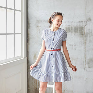 Blue & White Stripe Ruffled-Hem A-Line Dress