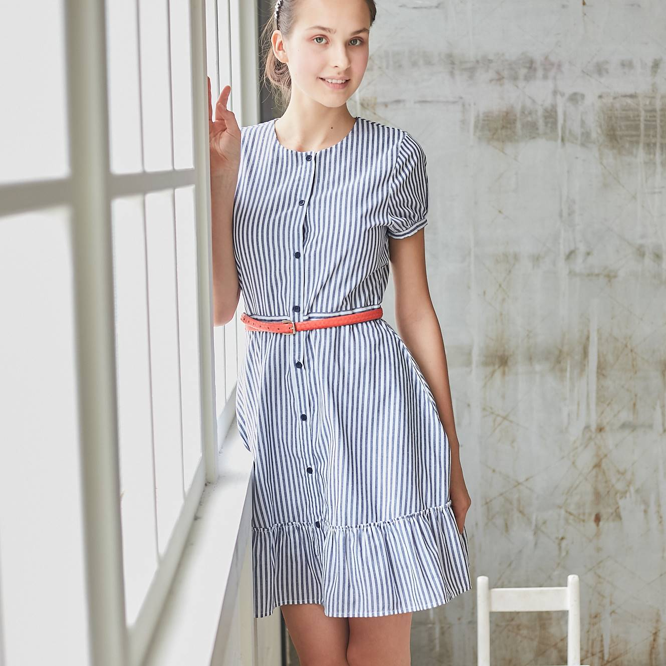 Blue & White Stripe Ruffled-Hem A-Line Dress - Bunny n Bloom Mommy & Me Dress