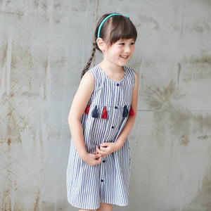 Blue & White Stripe Tassel-Accent Sleeveless Dress