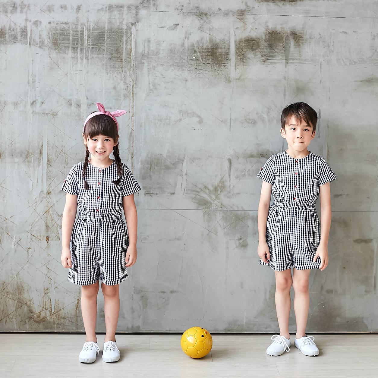 (Mommy & Me) Dark Blue & White Gingham Button-Front Romper (Set of 2) - Bunny n Bloom Mommy & Me Dress