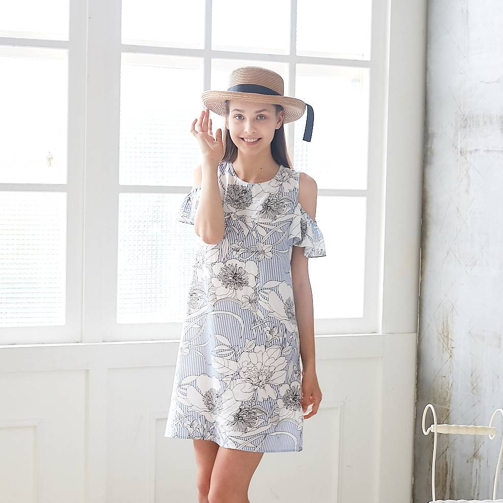 (Woman) 100% cotton-Cold-Shoulder Blue Floral Spring Dress - Bunny n Bloom Mommy & Me Dress
