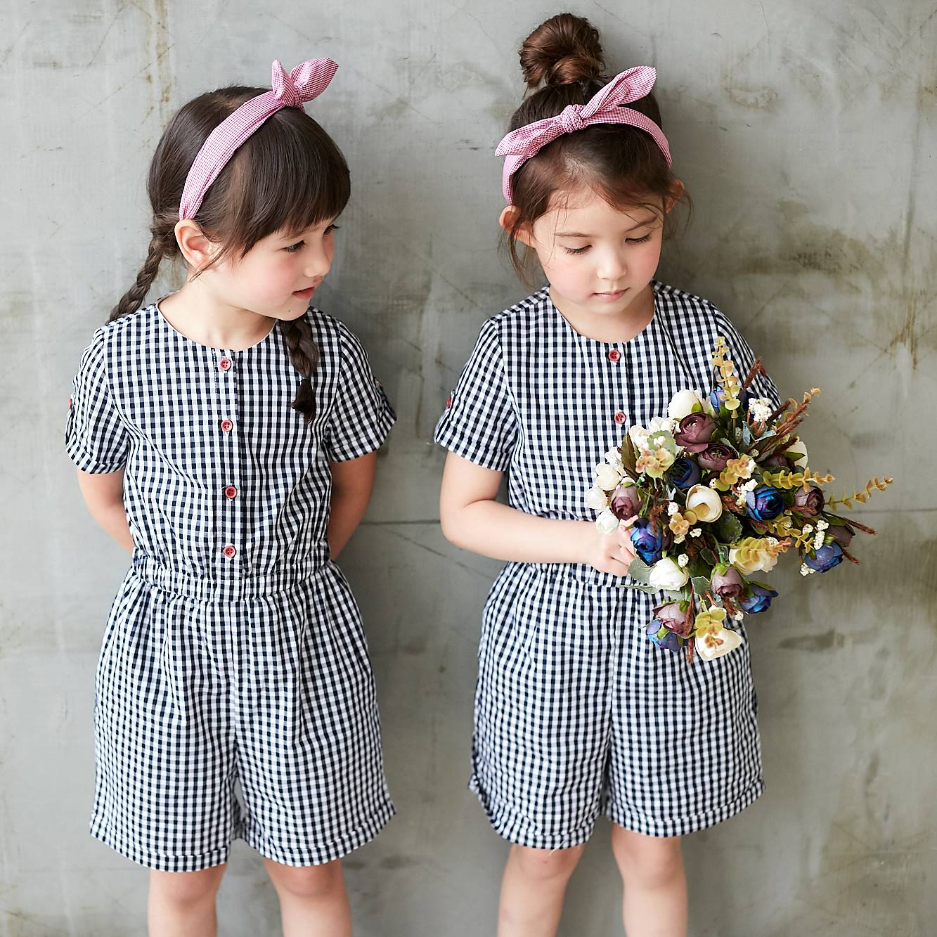 Dark Blue & White Gingham Button-Front Romper - Bunny n Bloom Mommy & Me Dress