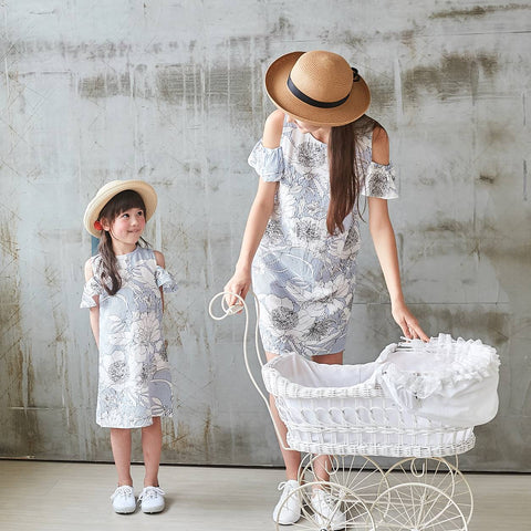 (Mommy & Me) 100% cotton-Cold-Shoulder Blue Floral Spring Dress (set of 2) - Bunny n Bloom Mommy & Me Dress