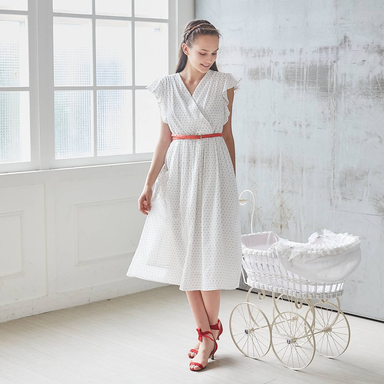 (Woman) 100% cotton-White Star Polka Dot Printed Dress - Bunny n Bloom Mommy & Me Dress
